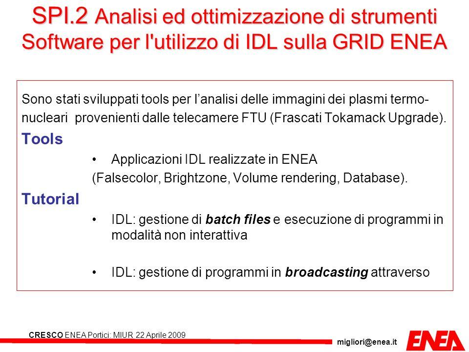 migliori@enea.it CRESCO ENEA Portici: MIUR 22 Aprile 2009 SPI.2 Analisi ed ottimizzazione di strumenti Software per l'utilizzo di IDL sulla GRID ENEA