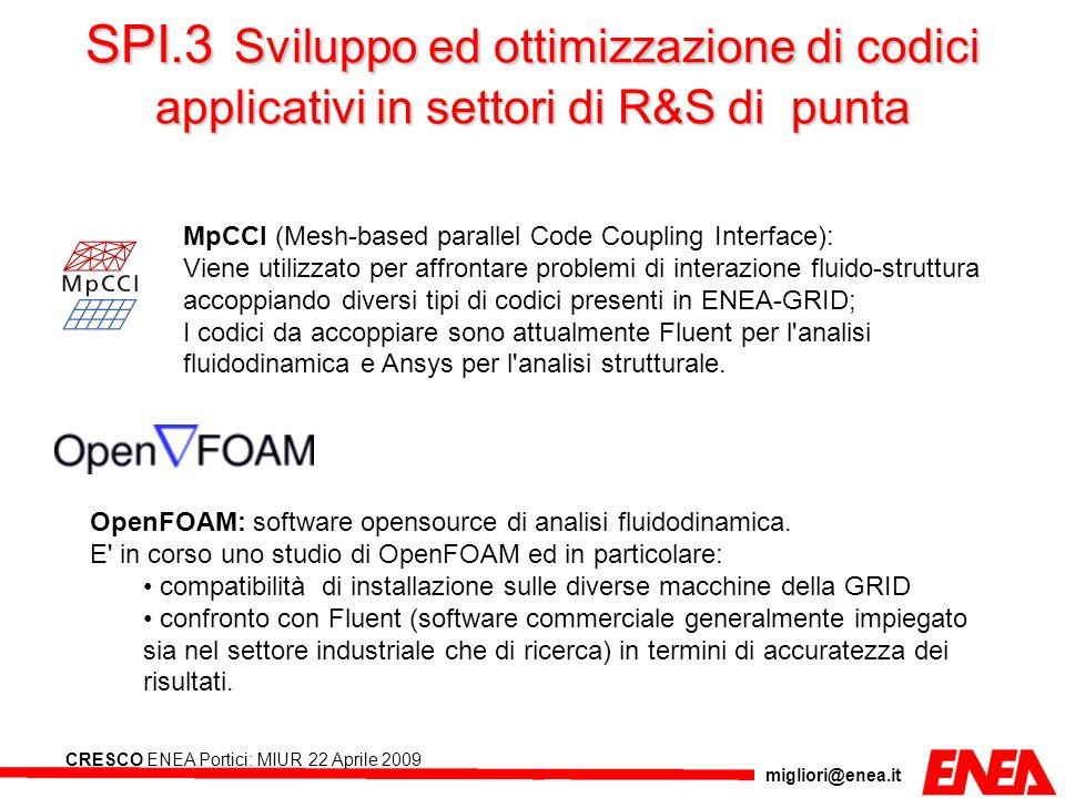 migliori@enea.it CRESCO ENEA Portici: MIUR 22 Aprile 2009 MpCCI (Mesh-based parallel Code Coupling Interface): Viene utilizzato per affrontare problem
