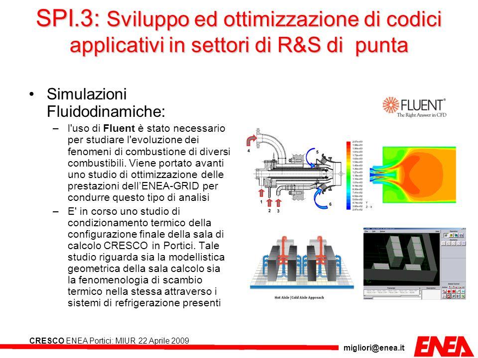 migliori@enea.it CRESCO ENEA Portici: MIUR 22 Aprile 2009 SPI.3: Sviluppo ed ottimizzazione di codici applicativi in settori di R&S di punta Simulazio