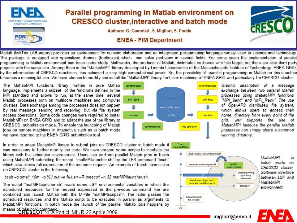 migliori@enea.it CRESCO ENEA Portici: MIUR 22 Aprile 2009 Parallel programming in Matlab environment on CRESCO cluster,interactive and batch mode Auth