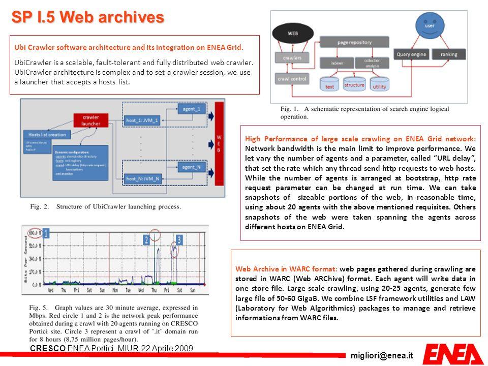 migliori@enea.it CRESCO ENEA Portici: MIUR 22 Aprile 2009 Ubi Crawler software architecture and its integration on ENEA Grid. UbiCrawler is a scalable
