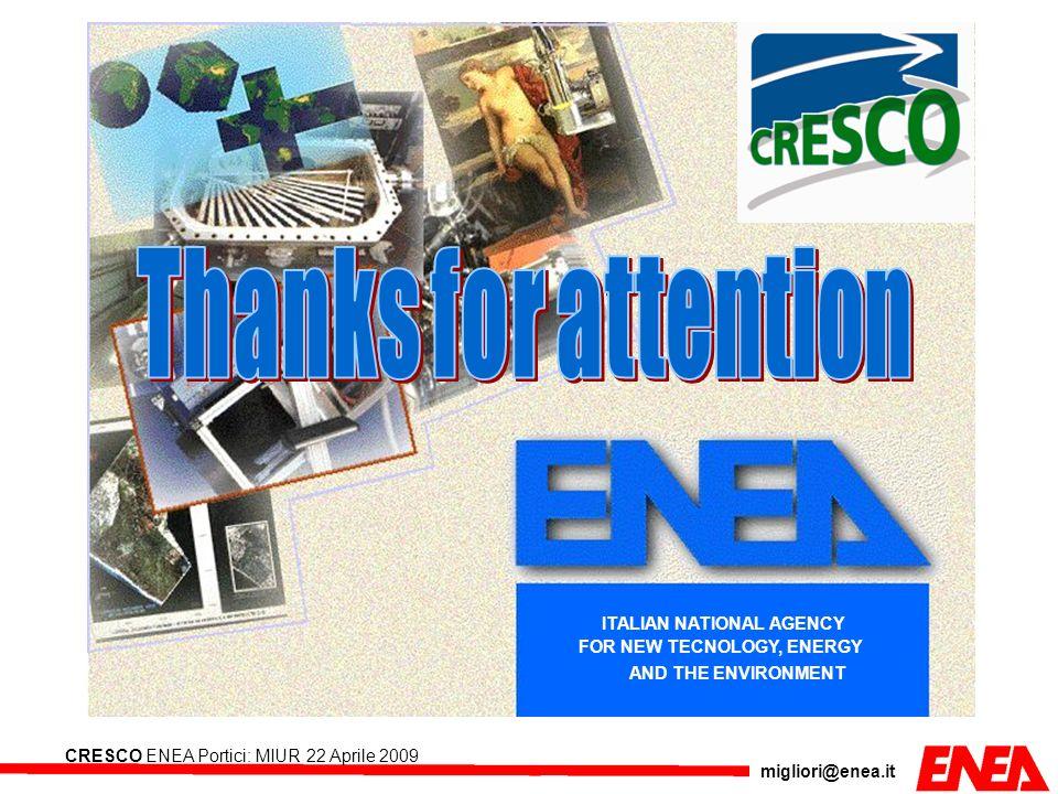 migliori@enea.it CRESCO ENEA Portici: MIUR 22 Aprile 2009 ITALIAN NATIONAL AGENCY FOR NEW TECNOLOGY, ENERGY AND THE ENVIRONMENT