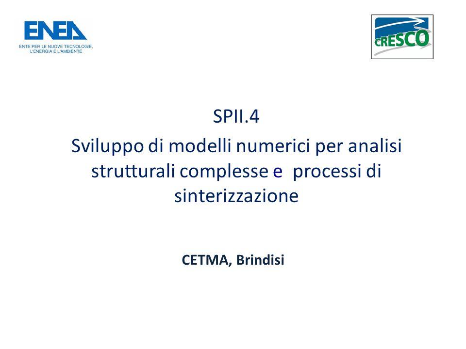 SPII.4 Sviluppo di modelli numerici per analisi strutturali complesse e processi di sinterizzazione CETMA, Brindisi