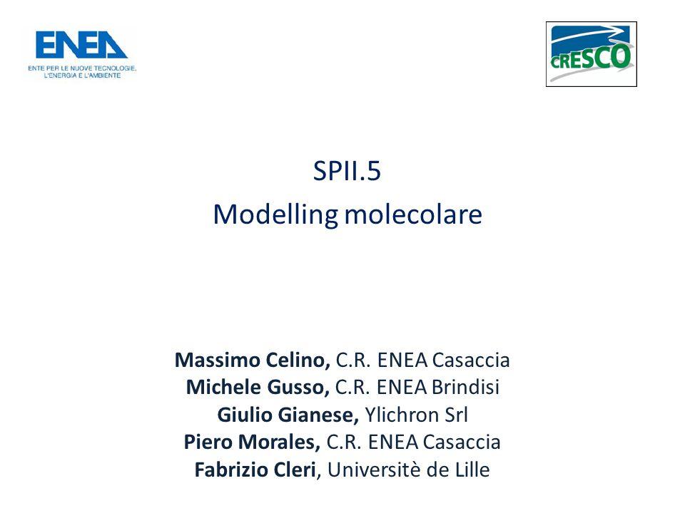 SPII.5 Modelling molecolare Massimo Celino, C.R.ENEA Casaccia Michele Gusso, C.R.
