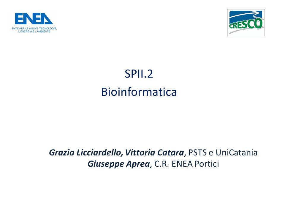 SPII.2 Bioinformatica Grazia Licciardello, Vittoria Catara, PSTS e UniCatania Giuseppe Aprea, C.R.