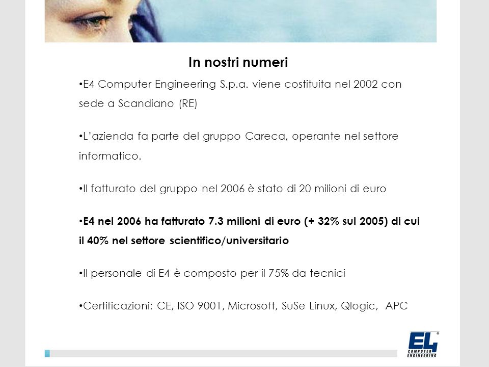 In nostri numeri E4 Computer Engineering S.p.a.