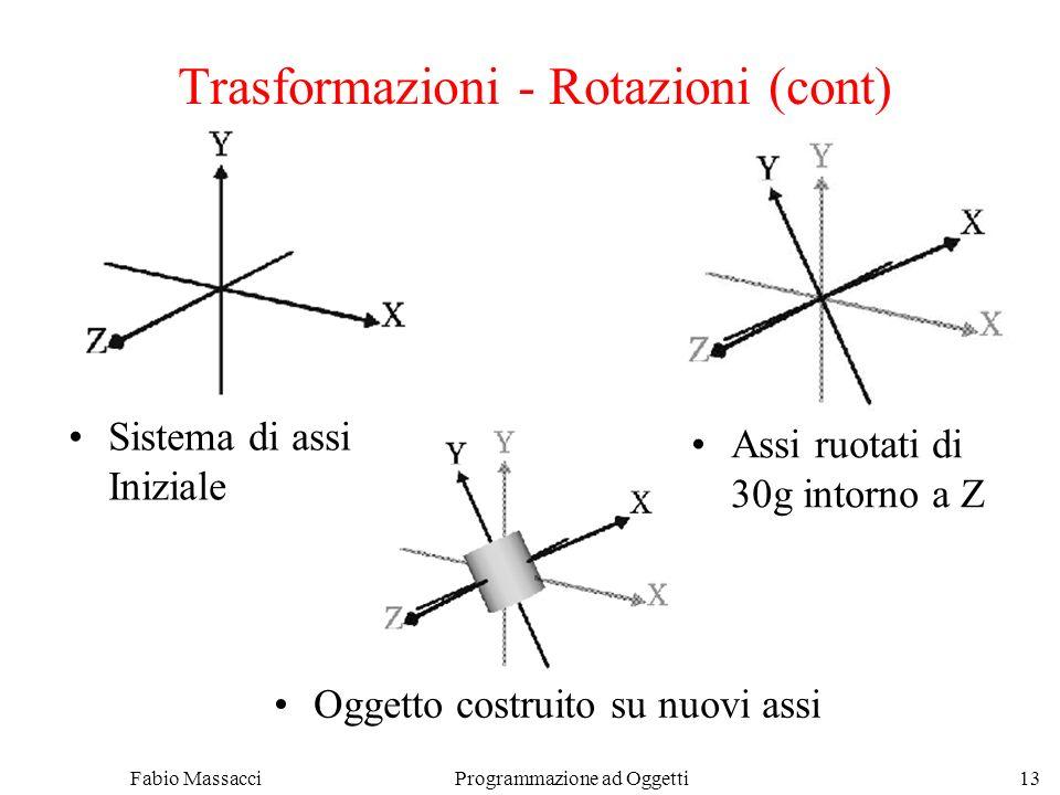 Fabio Massacci Programmazione ad Oggetti 13 Trasformazioni - Rotazioni (cont) Sistema di assi Iniziale Assi ruotati di 30g intorno a Z Oggetto costruito su nuovi assi
