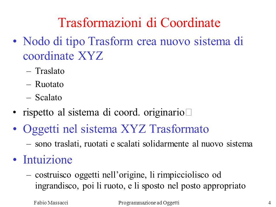 Fabio Massacci Programmazione ad Oggetti 4 Trasformazioni di Coordinate Nodo di tipo Trasform crea nuovo sistema di coordinate XYZ –Traslato –Ruotato –Scalato rispetto al sistema di coord.