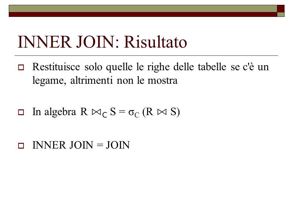 INNER JOIN: Risultato Restituisce solo quelle le righe delle tabelle se c'è un legame, altrimenti non le mostra In algebra R C S = σ C (R S) INNER JOI