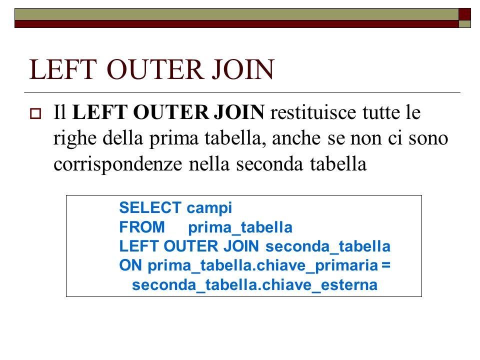 LEFT OUTER JOIN Il LEFT OUTER JOIN restituisce tutte le righe della prima tabella, anche se non ci sono corrispondenze nella seconda tabella SELECT ca