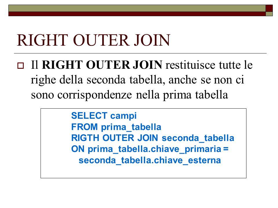 RIGHT OUTER JOIN Il RIGHT OUTER JOIN restituisce tutte le righe della seconda tabella, anche se non ci sono corrispondenze nella prima tabella SELECT