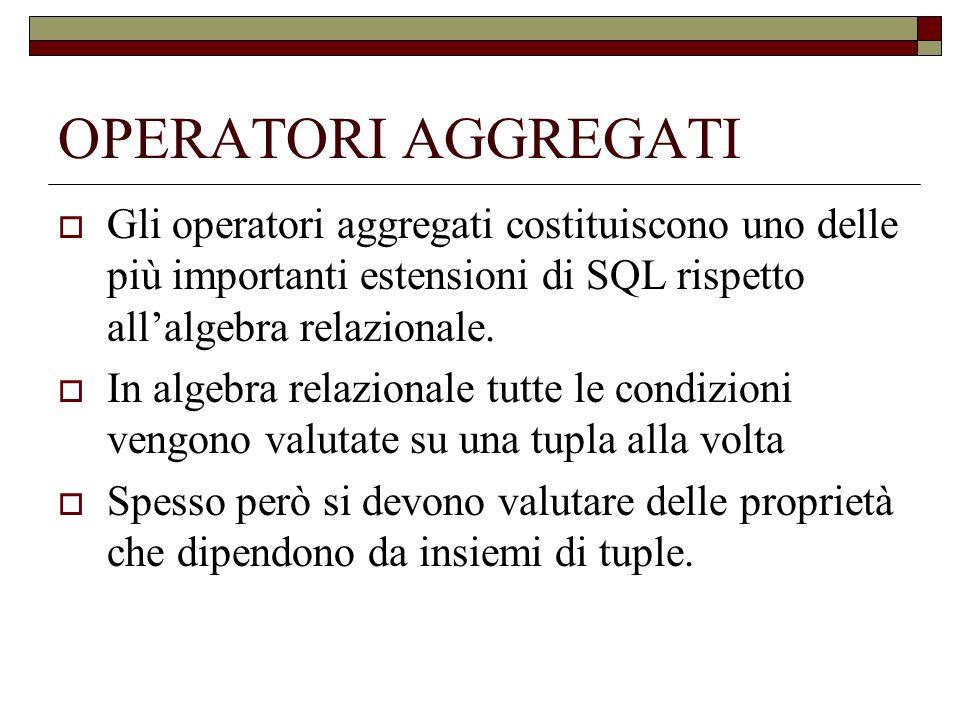 OPERATORI AGGREGATI Gli operatori aggregati costituiscono uno delle più importanti estensioni di SQL rispetto allalgebra relazionale. In algebra relaz