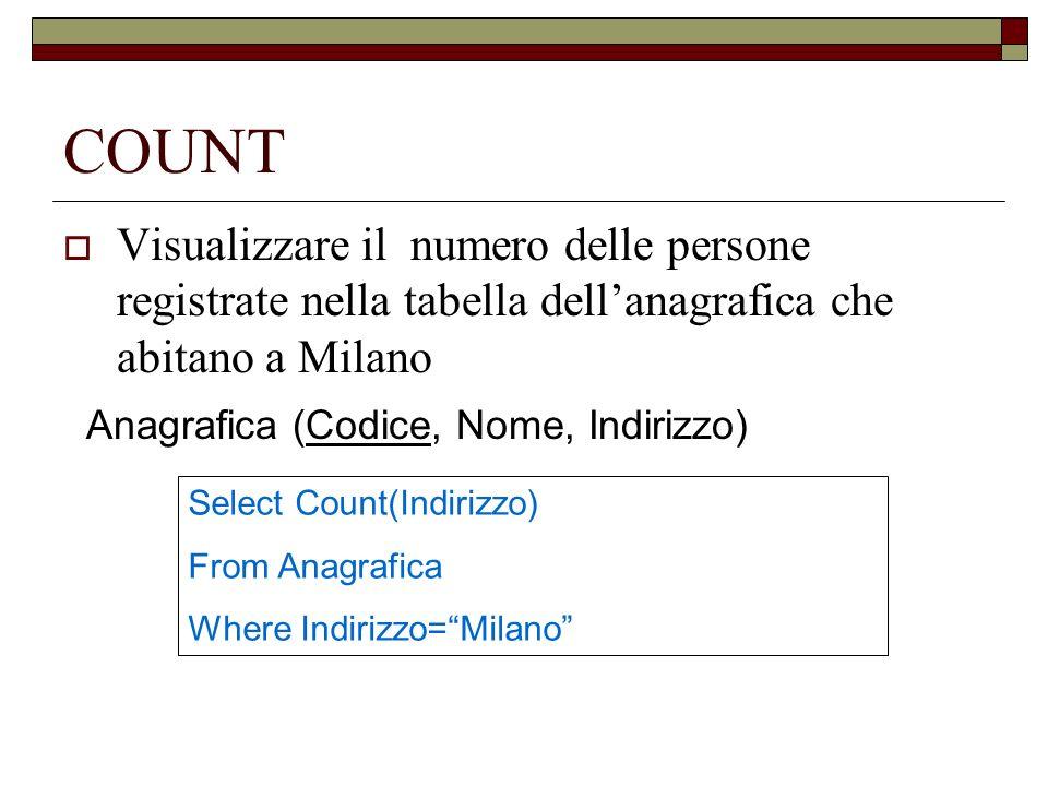 COUNT Visualizzare il numero delle persone registrate nella tabella dellanagrafica che abitano a Milano Anagrafica (Codice, Nome, Indirizzo) Select Co