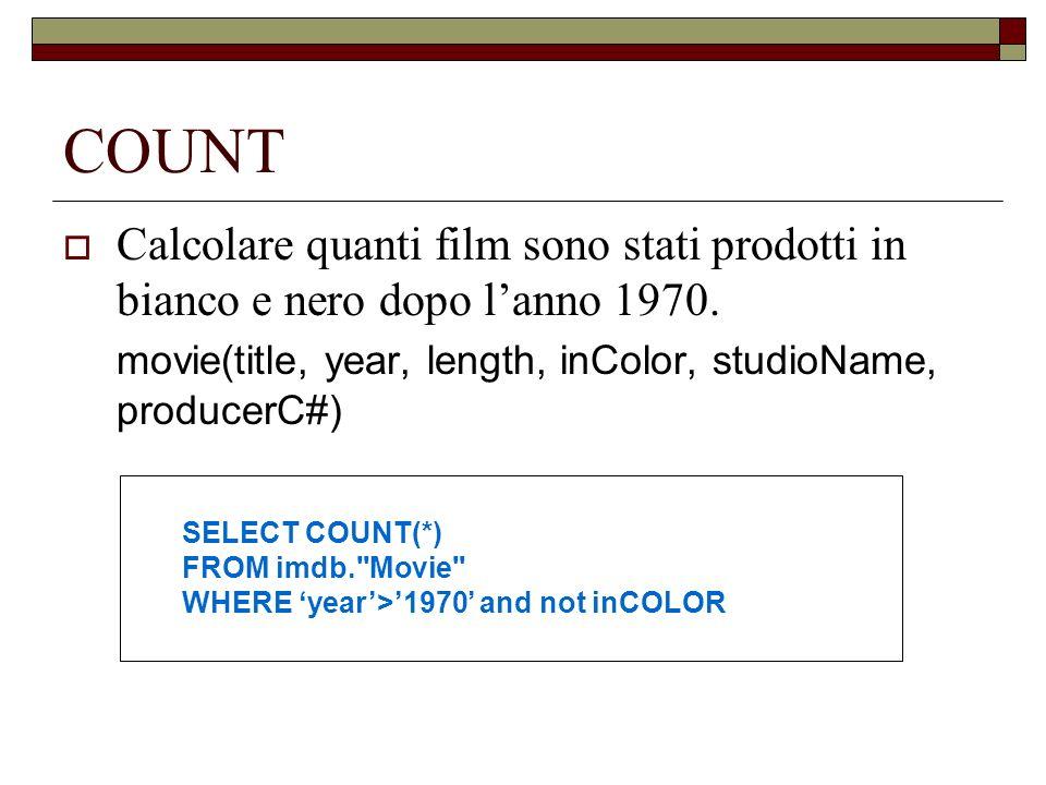 COUNT Calcolare quanti film sono stati prodotti in bianco e nero dopo lanno 1970. movie(title, year, length, inColor, studioName, producerC#) SELECT C