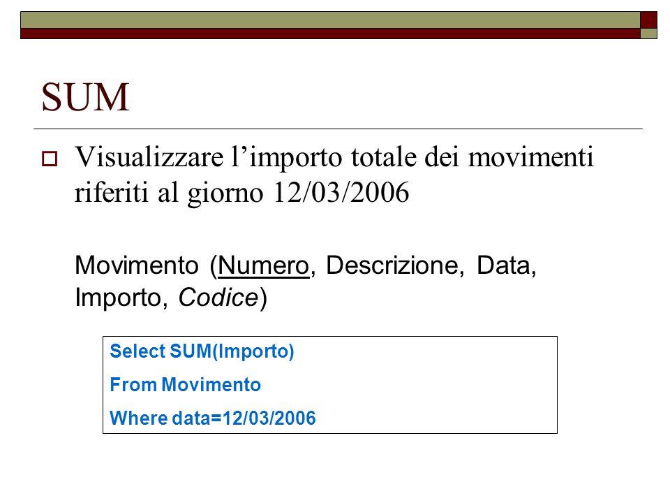 SUM Visualizzare limporto totale dei movimenti riferiti al giorno 12/03/2006 Movimento (Numero, Descrizione, Data, Importo, Codice) Select SUM(Importo