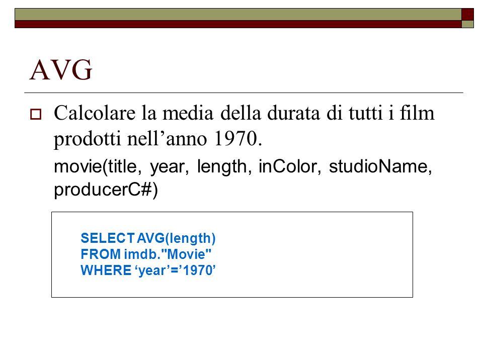 AVG Calcolare la media della durata di tutti i film prodotti nellanno 1970. movie(title, year, length, inColor, studioName, producerC#) SELECT AVG(len