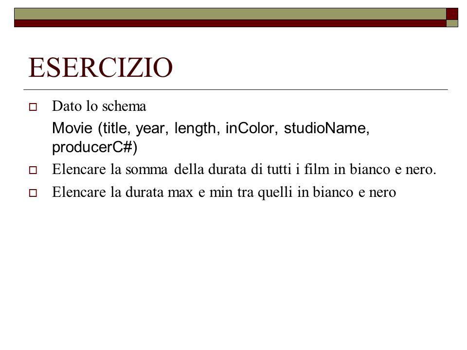 ESERCIZIO Dato lo schema Movie (title, year, length, inColor, studioName, producerC#) Elencare la somma della durata di tutti i film in bianco e nero.