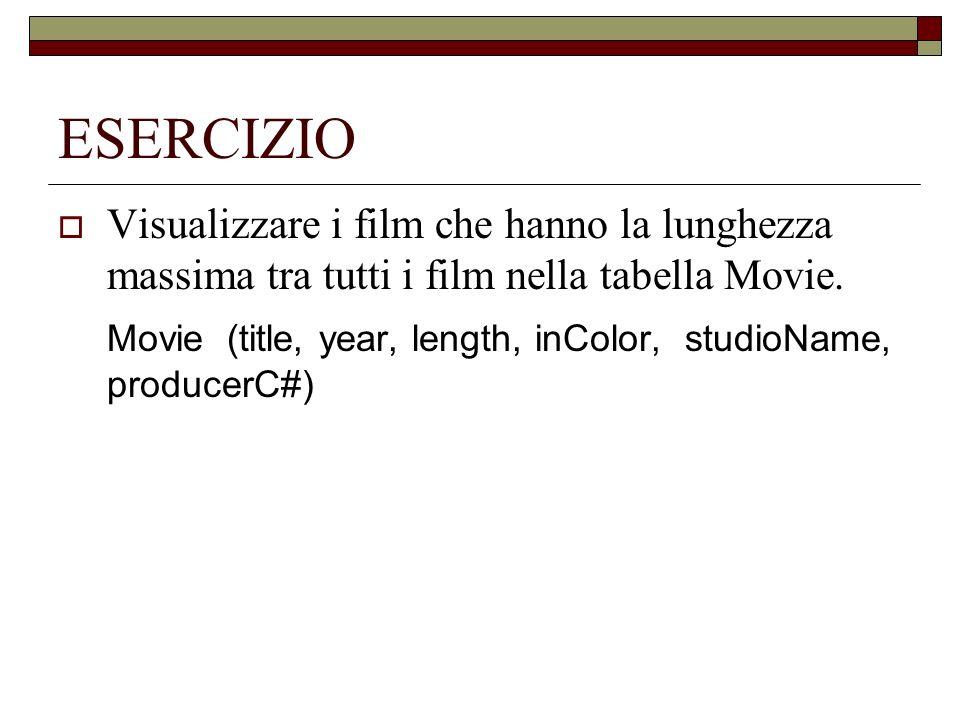 ESERCIZIO Visualizzare i film che hanno la lunghezza massima tra tutti i film nella tabella Movie. Movie (title, year, length, inColor, studioName, pr