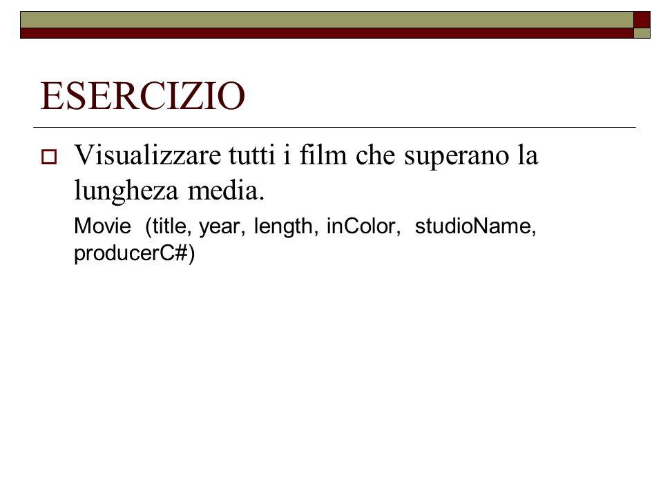 ESERCIZIO Visualizzare tutti i film che superano la lungheza media. Movie (title, year, length, inColor, studioName, producerC#)