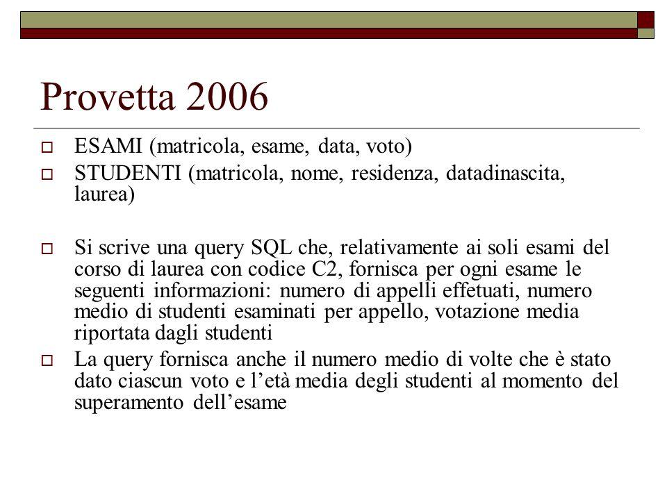 Provetta 2006 ESAMI (matricola, esame, data, voto) STUDENTI (matricola, nome, residenza, datadinascita, laurea) Si scrive una query SQL che, relativam