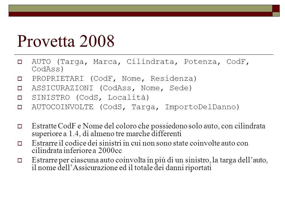 Provetta 2008 AUTO (Targa, Marca, Cilindrata, Potenza, CodF, CodAss) PROPRIETARI (CodF, Nome, Residenza) ASSICURAZIONI (CodAss, Nome, Sede) SINISTRO (