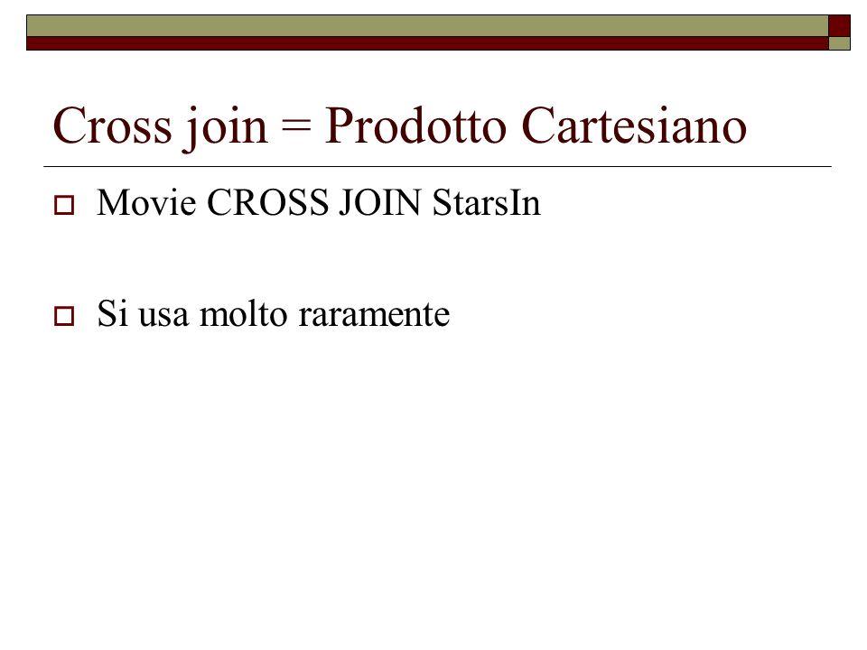 Cross join = Prodotto Cartesiano Movie CROSS JOIN StarsIn Si usa molto raramente