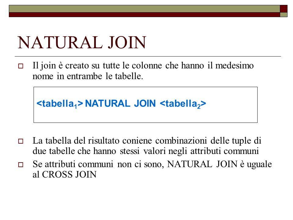 NATURAL JOIN Il join è creato su tutte le colonne che hanno il medesimo nome in entrambe le tabelle. La tabella del risultato coniene combinazioni del