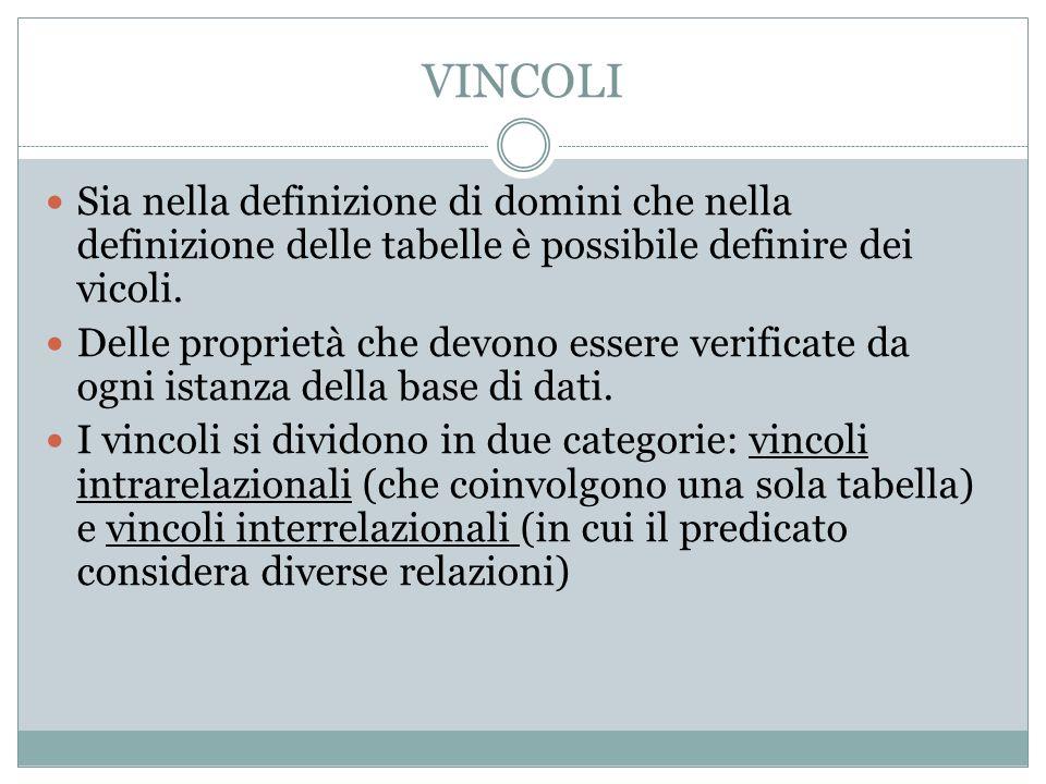 VINCOLI Sia nella definizione di domini che nella definizione delle tabelle è possibile definire dei vicoli. Delle proprietà che devono essere verific
