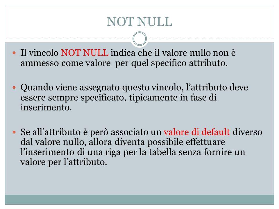 NOT NULL Il vincolo NOT NULL indica che il valore nullo non è ammesso come valore per quel specifico attributo. Quando viene assegnato questo vincolo,