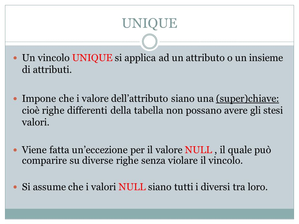 UNIQUE Un vincolo UNIQUE si applica ad un attributo o un insieme di attributi.