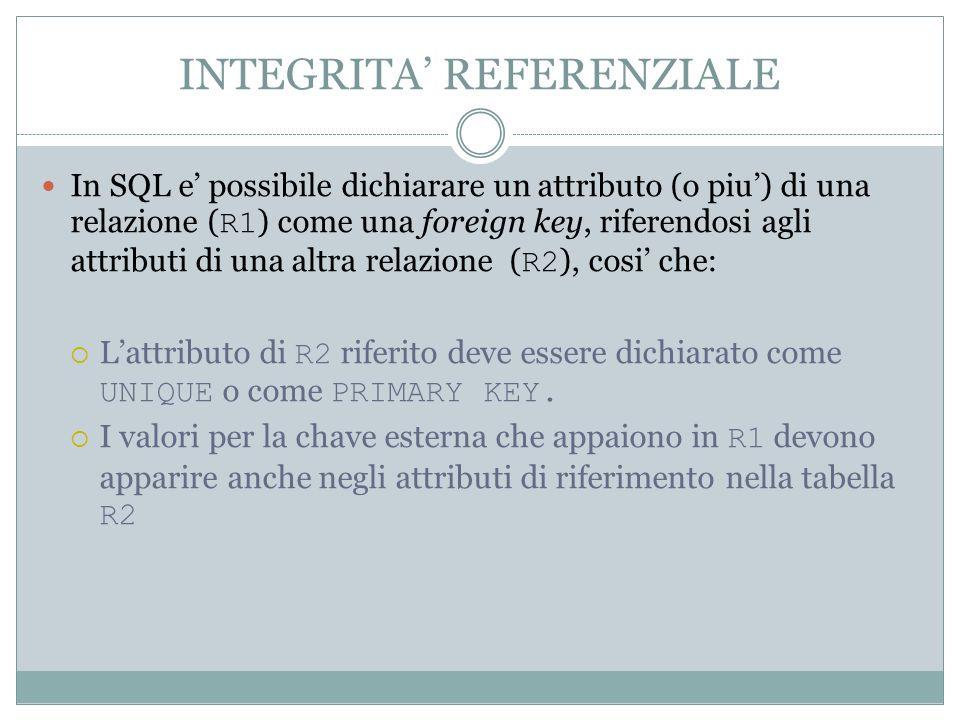 INTEGRITA REFERENZIALE In SQL e possibile dichiarare un attributo (o piu) di una relazione ( R1 ) come una foreign key, riferendosi agli attributi di una altra relazione ( R2 ), cosi che: Lattributo di R2 riferito deve essere dichiarato come UNIQUE o come PRIMARY KEY.