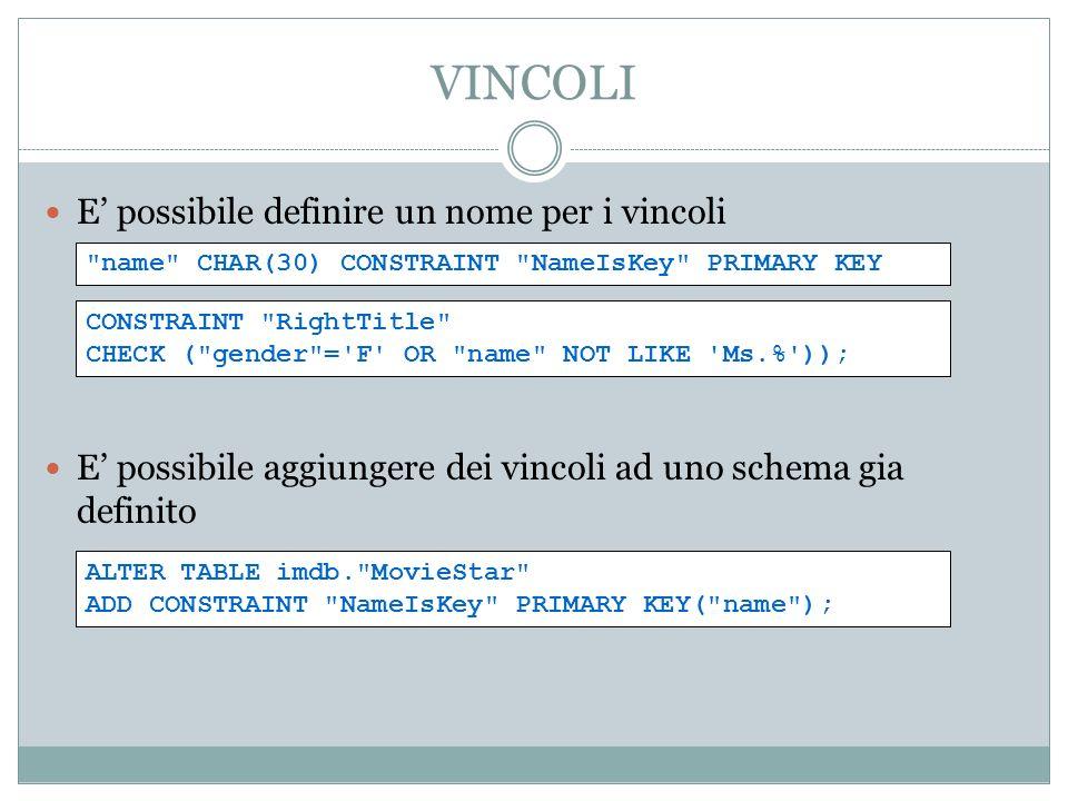 VINCOLI E possibile definire un nome per i vincoli E possibile aggiungere dei vincoli ad uno schema gia definito