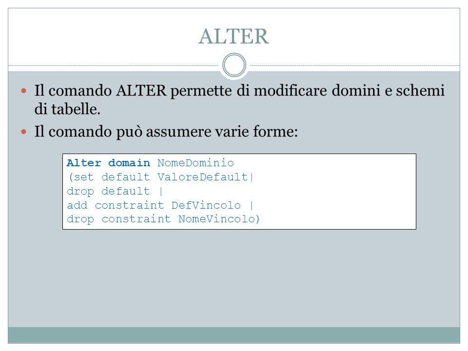 ALTER Il comando ALTER permette di modificare domini e schemi di tabelle. Il comando può assumere varie forme: Alter domain NomeDominio (set default V