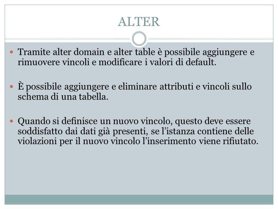 ALTER Tramite alter domain e alter table è possibile aggiungere e rimuovere vincoli e modificare i valori di default.