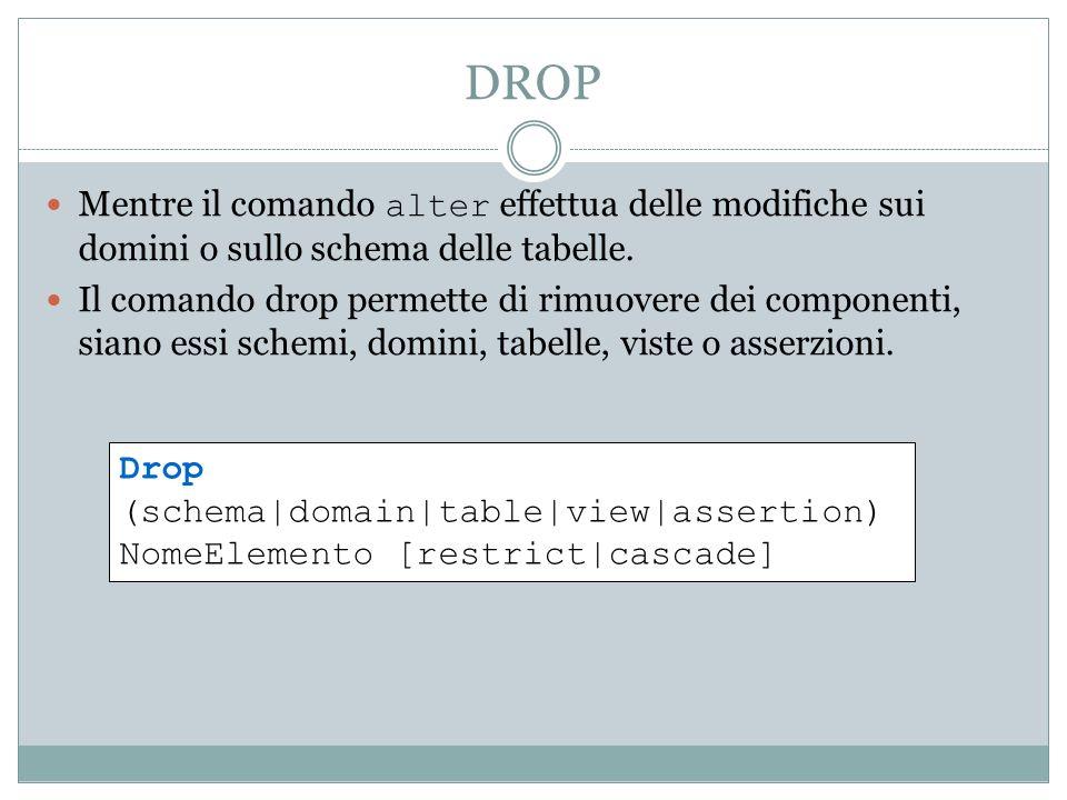 DROP Mentre il comando alter effettua delle modifiche sui domini o sullo schema delle tabelle. Il comando drop permette di rimuovere dei componenti, s