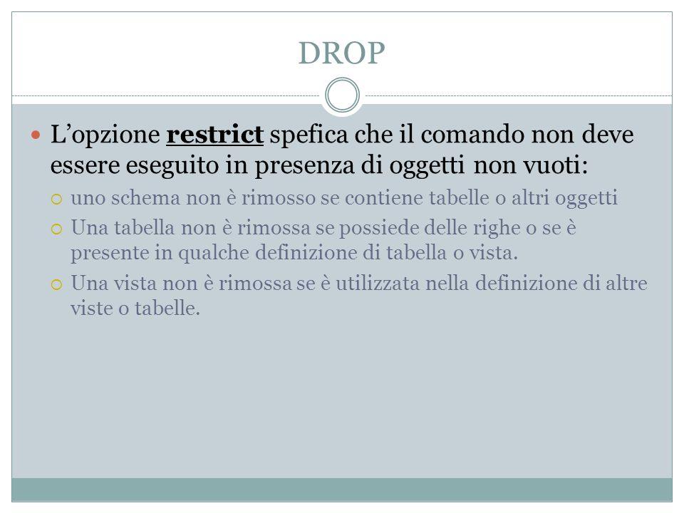 DROP Lopzione restrict spefica che il comando non deve essere eseguito in presenza di oggetti non vuoti: uno schema non è rimosso se contiene tabelle
