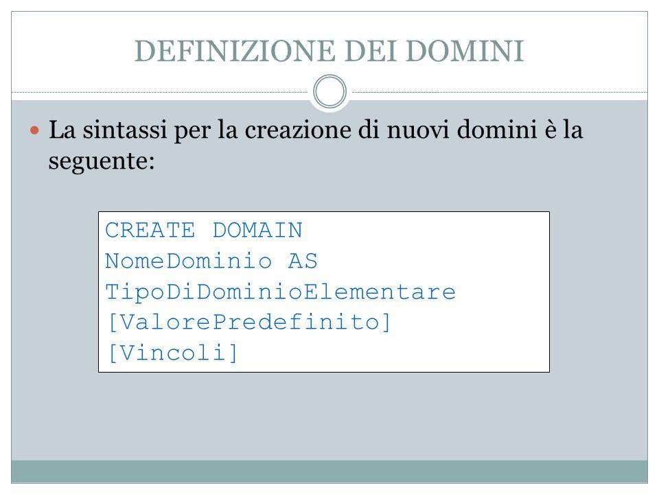 DEFINIZIONE DEI DOMINI La sintassi per la creazione di nuovi domini è la seguente: CREATE DOMAIN NomeDominio AS TipoDiDominioElementare [ValorePredefinito] [Vincoli]