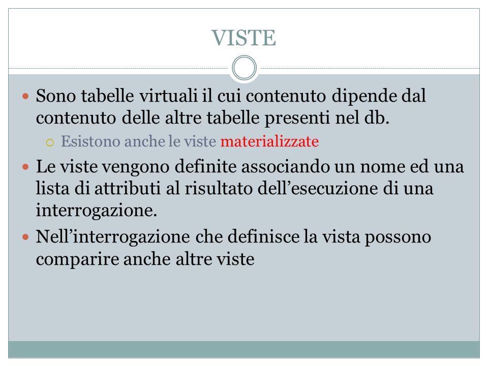 VISTE Sono tabelle virtuali il cui contenuto dipende dal contenuto delle altre tabelle presenti nel db. Esistono anche le viste materializzate Le vist