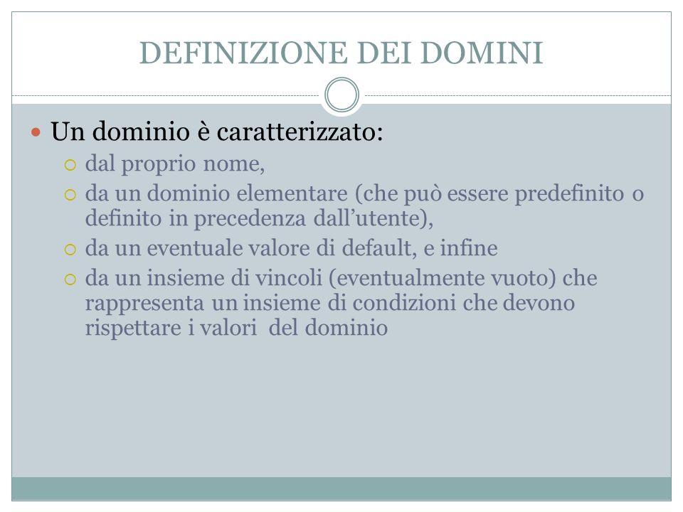DEFINIZIONE DEI DOMINI Un dominio è caratterizzato: dal proprio nome, da un dominio elementare (che può essere predefinito o definito in precedenza dallutente), da un eventuale valore di default, e infine da un insieme di vincoli (eventualmente vuoto) che rappresenta un insieme di condizioni che devono rispettare i valori del dominio