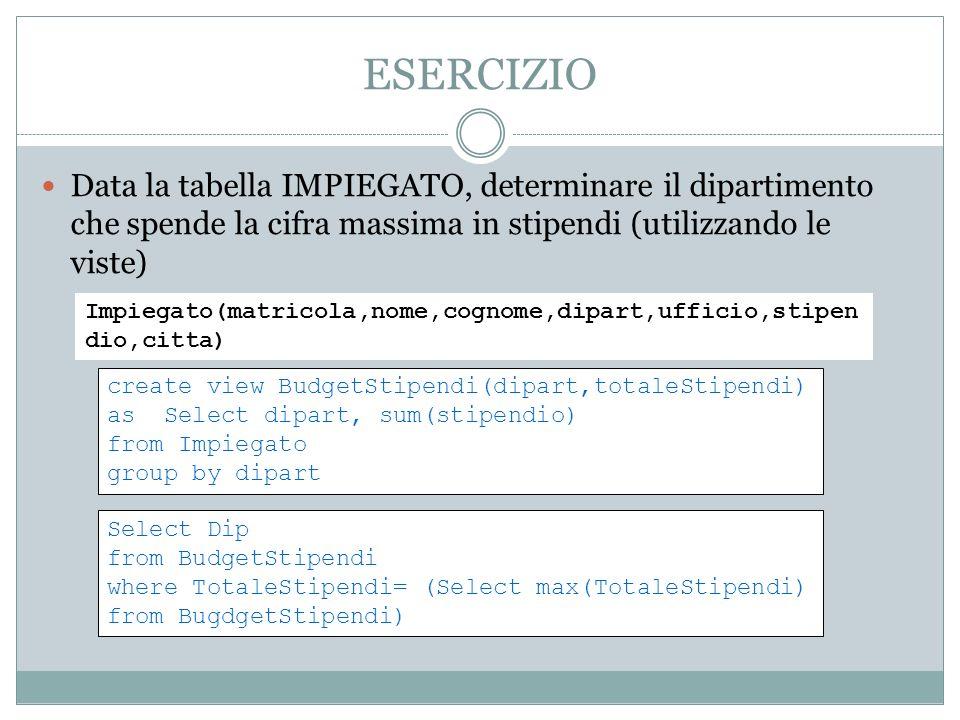 ESERCIZIO Data la tabella IMPIEGATO, determinare il dipartimento che spende la cifra massima in stipendi (utilizzando le viste) Impiegato(matricola,nome,cognome,dipart,ufficio,stipen dio,citta) create view BudgetStipendi(dipart,totaleStipendi) as Select dipart, sum(stipendio) from Impiegato group by dipart Select Dip from BudgetStipendi where TotaleStipendi= (Select max(TotaleStipendi) from BugdgetStipendi)