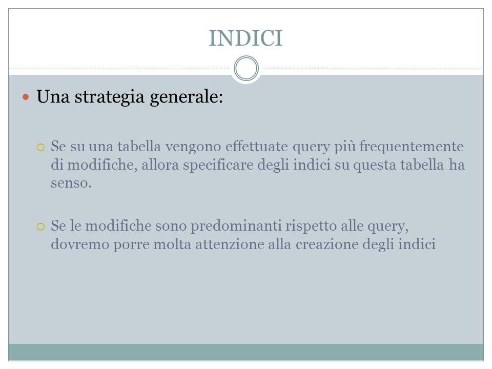 INDICI Una strategia generale: Se su una tabella vengono effettuate query più frequentemente di modifiche, allora specificare degli indici su questa tabella ha senso.