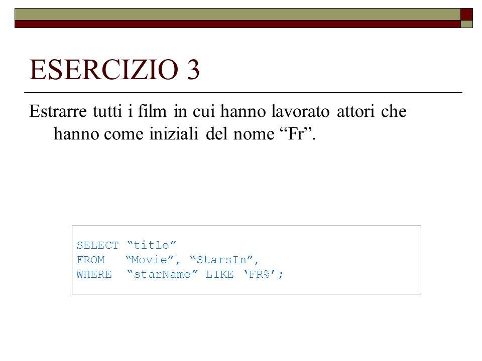 ESERCIZIO 4 Estrarre tutti i film il titolo di quali contiene s.