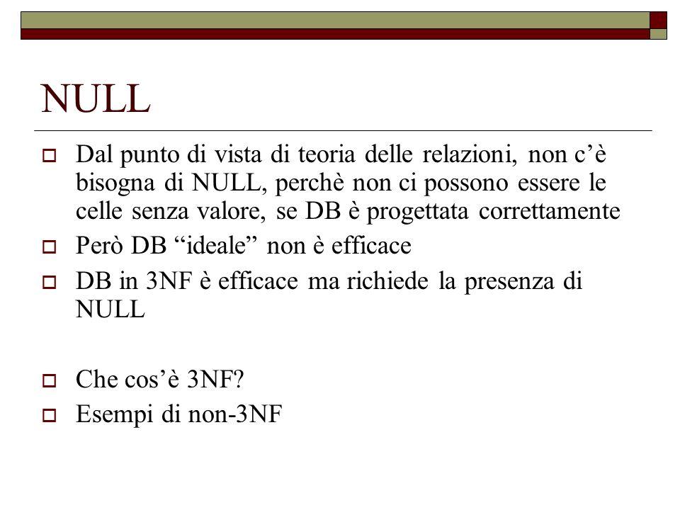 NULL e UNKNOWN Quando NULL e una parte di un operazione aritmetica, il risultato e un NULL, e.g.