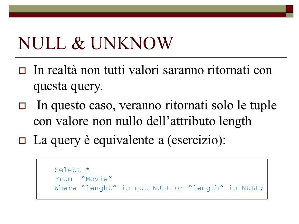 NULL e UNKNOWN