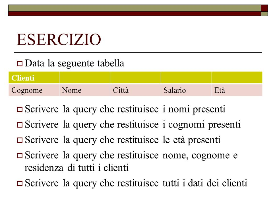 ESERCIZIO Data la seguente tabella Scrivere la query che restituisce i nomi presenti Scrivere la query che restituisce i cognomi presenti Scrivere la query che restituisce le età presenti Scrivere la query che restituisce nome, cognome e residenza di tutti i clienti Scrivere la query che restituisce tutti i dati dei clienti Clienti CognomeNomeCittàSalarioEtà