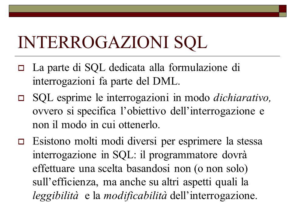 INTERROGAZIONI SEMPLICI Le operazioni di interrogazione in SQL vengono specificate per mezzo della gia vista istruzione select.