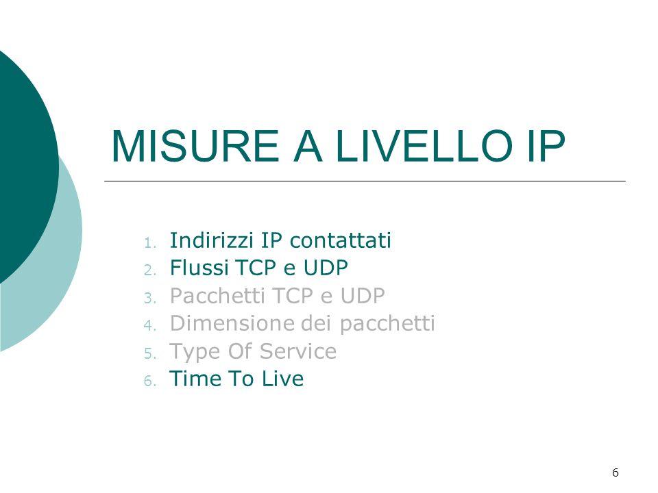 6 MISURE A LIVELLO IP 1. Indirizzi IP contattati 2. Flussi TCP e UDP 3. Pacchetti TCP e UDP 4. Dimensione dei pacchetti 5. Type Of Service 6. Time To