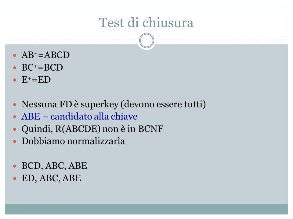 Test di chiusura AB + =ABCD BC + =BCD E + =ED Nessuna FD è superkey (devono essere tutti) ABE – candidato alla chiave Quindi, R(ABCDE) non è in BCNF D