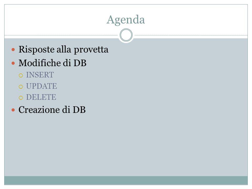 Agenda Risposte alla provetta Modifiche di DB INSERT UPDATE DELETE Creazione di DB
