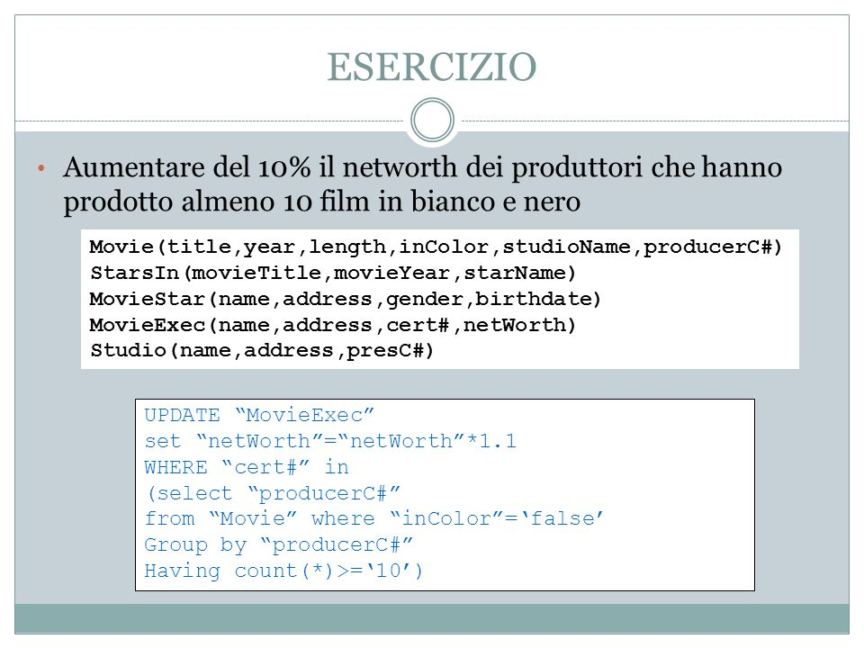 ESERCIZIO Aumentare del 10% il networth dei produttori che hanno prodotto almeno 10 film in bianco e nero Movie(title,year,length,inColor,studioName,producerC#) StarsIn(movieTitle,movieYear,starName) MovieStar(name,address,gender,birthdate) MovieExec(name,address,cert#,netWorth) Studio(name,address,presC#) UPDATE MovieExec set netWorth=netWorth*1.1 WHERE cert# in (select producerC# from Movie where inColor=false Group by producerC# Having count(*)>=10)